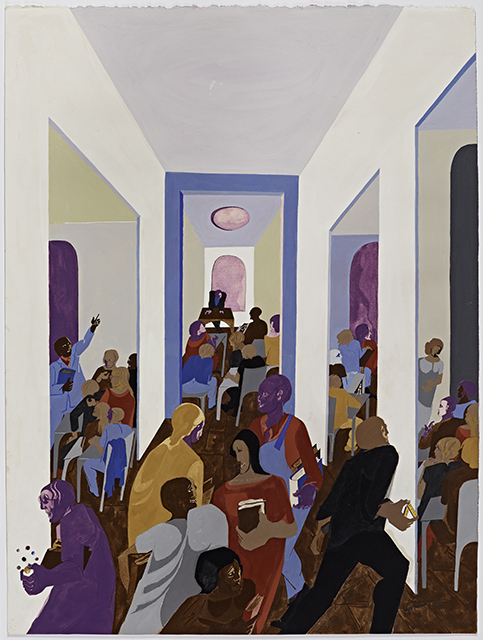 Jacob Lawrence, University, 1977. (Gift of Dr. Herbert J. Kayden and Family in memory of Dr. Gabrielle H. Reem © 2015 The Jacob and Gwendolyn Lawrence Foundation, Seattle / Artists Rights Society (ARS), New York)