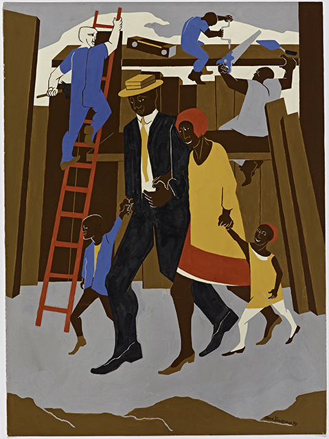 Jacob Lawrence, Poster Design... Whitney Exhibition, 1974. (Gift of Dr. Herbert J. Kayden and Family in memory of Dr. Gabrielle H. Reem © 2015 The Jacob and Gwendolyn Lawrence Foundation, Seattle / Artists Rights Society (ARS), New York)