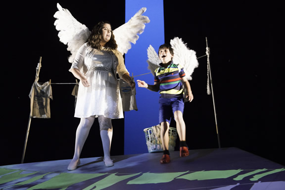 Max (Jonah Broscow) helps Pegasus (Hayley Lovgren) hang out the laundry and fly. (Photo: Mark Palmer)