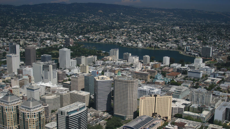 An aerial view of downtown Oakland.