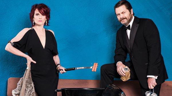 Nick Offerman with wife Megan Mullally.