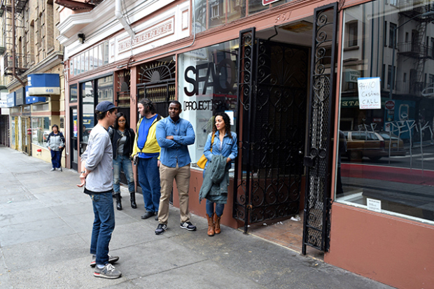 Outside the <i>94110</i> auditions at SFAQ (Courtesy of Jenny Manrique/Mission Local)