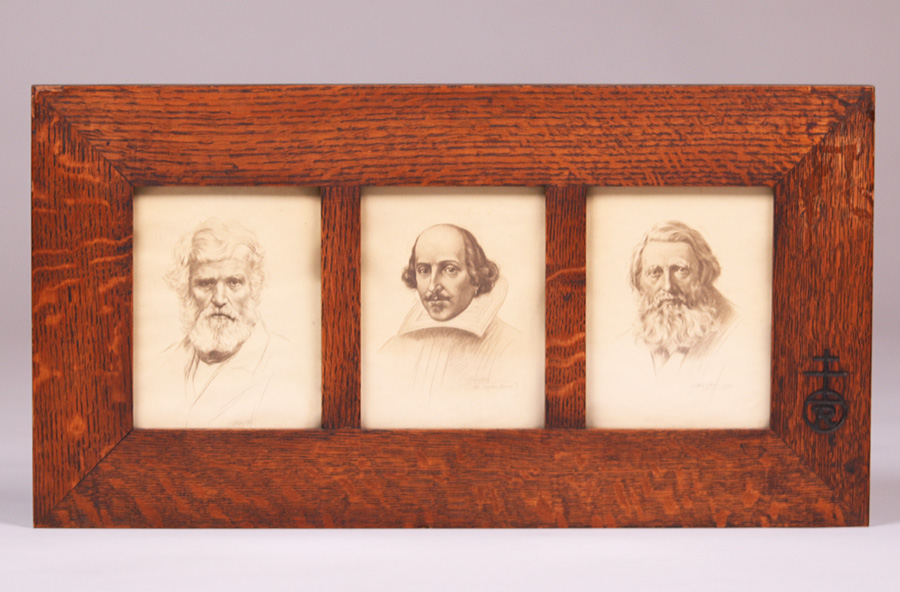 Roycroft oak frame with original images of Carlyle, Shakespeare and Ruskin. (Courtesy of California Historical Design)