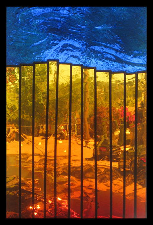 "Peter Mollica, ""Fence,"" stained glass, 2013."
