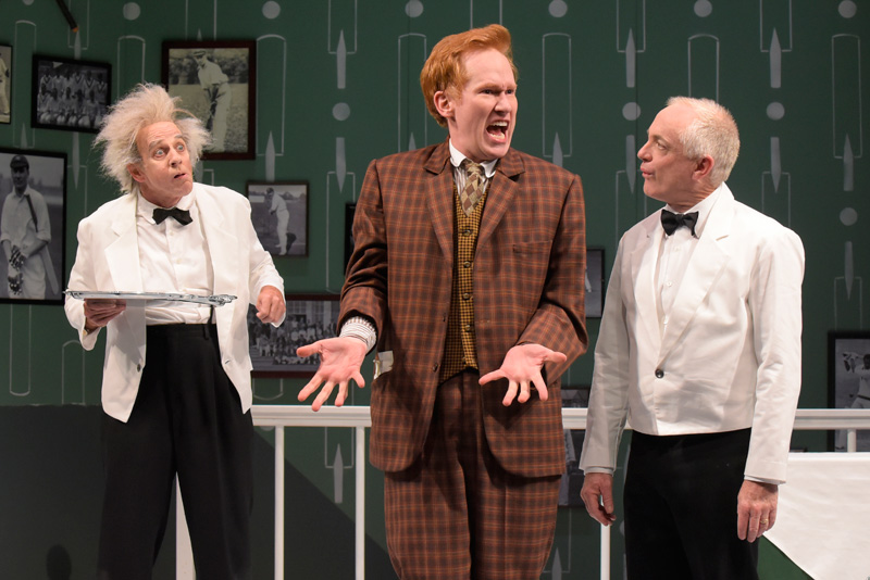 Ron Campbell (Alfie), Dan Donohue (Francis Henshall) and Danny Scheie (Gareth) in One Man, Two Guvnors at Berkeley Rep. (Photo: mellopix.com)