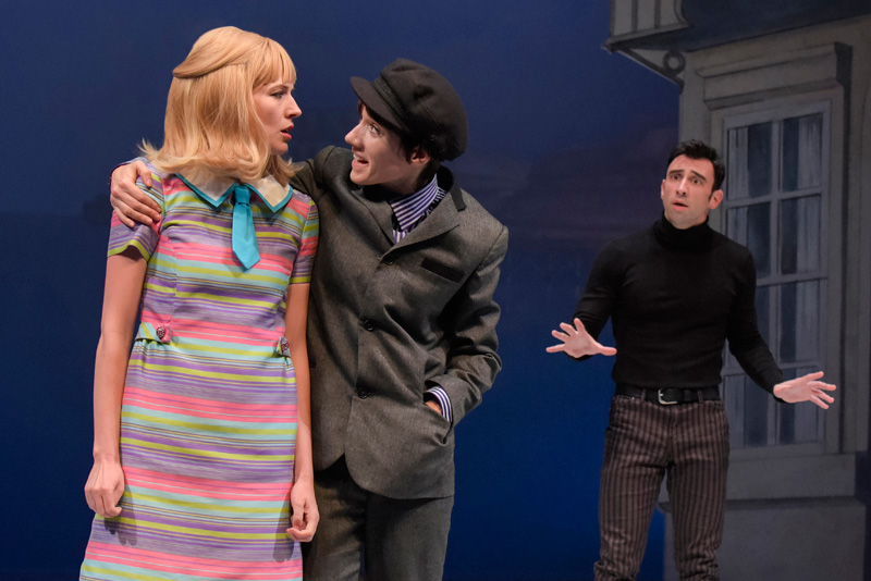 Sarah Moser (Pauline) is caught between fiancés Roscoe (Helen Sadler) and Alan (Brad Culver) in One Man, Two Guvnors at Berkeley Rep. (Photo: mellopix.com)