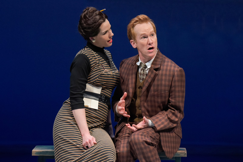 Dolly (Claire Warden) romances Francis (Dan Donohue) in One Man, Two Guvnors at Berkeley Rep. (Photo: mellopix.com)
