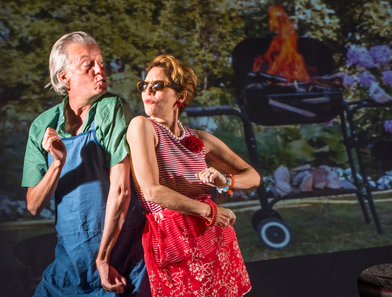 Mary (Amy Resnick) and Ben (Jeff Garrett) throw a backyard barbecue in Aurora Theatre Company's Bay Area premiere of Detroit. (Photo: David Allen)