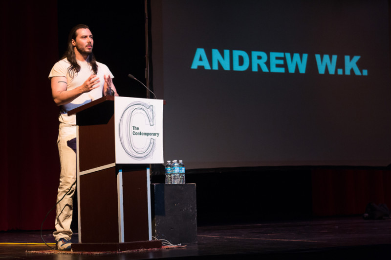 Andrew W.K. speaking at the Baltimore School of the Arts in 2014. (Photo by Olivia Obineme)