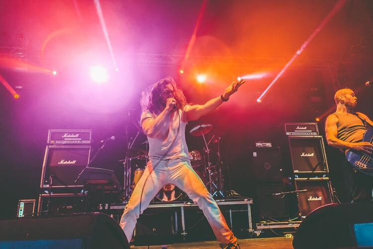 Andrew W.K. and his full band performs at Download Festival in Derbyshire, UK on 6/13/15. (Photo by Dave Musson.)