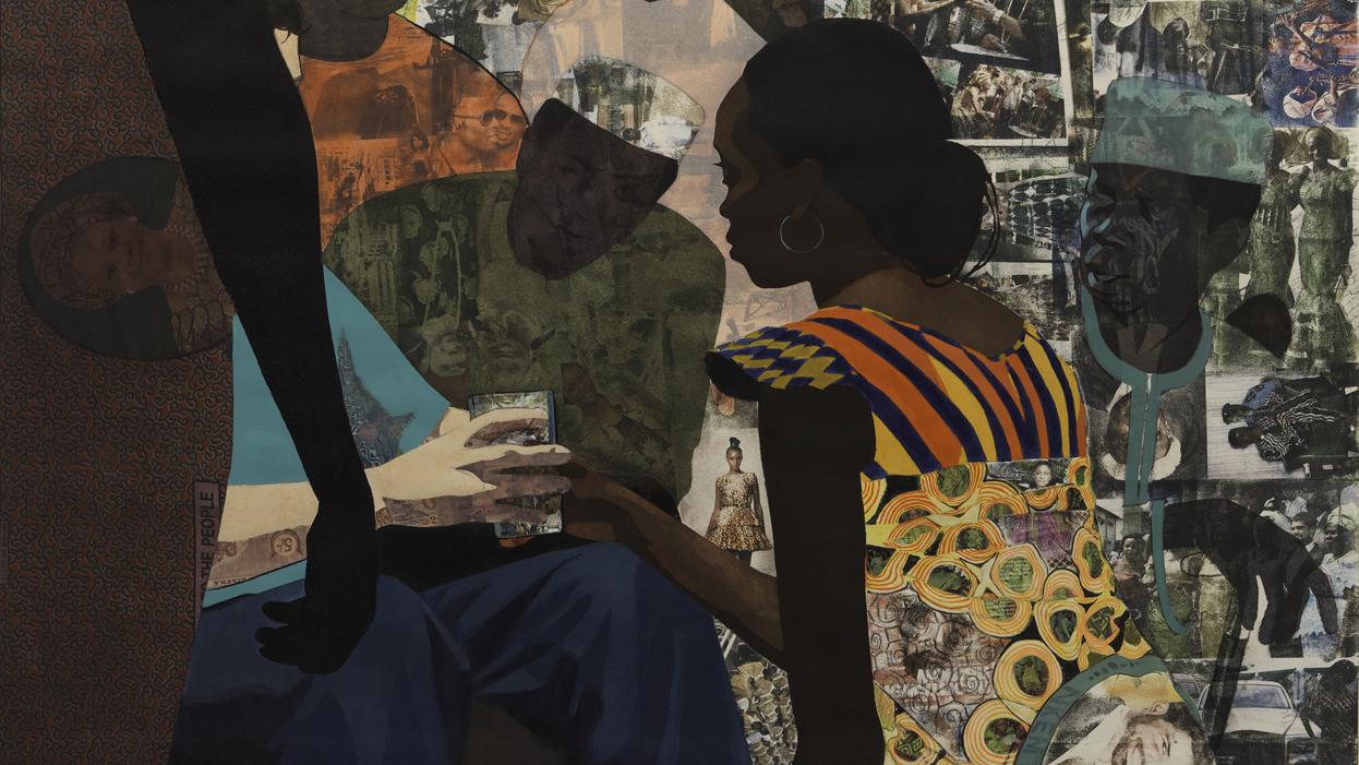 Njideka Akunyili Crosby, Wedding Portrait (detail), 2012. (Courtesy of SFMOMA, Photo by Don Ross)
