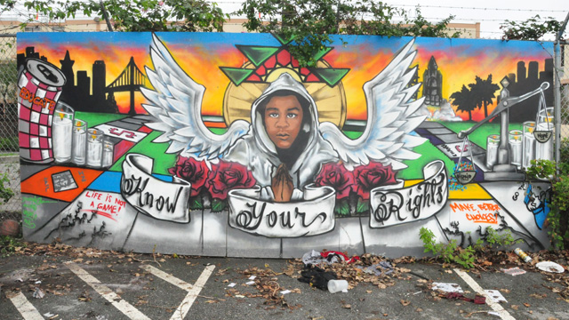 A mural of Trayvon Martin graces the African American Art & Culture Complex grounds.