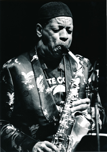 "Ornette Coleman performs his ""Tone Dialing"" premiere at the Masonic Auditorium, 1994."