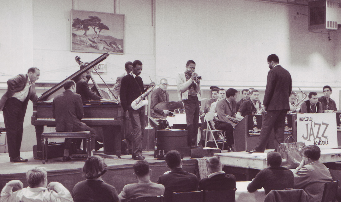 Ornette Coleman and Don Cherry perform with a large band at the Monterey Jazz Festival, 1959.