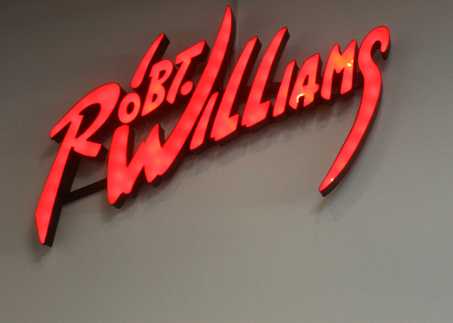 Robert Williams' recognizable signature, in light-box form, at the Art Museum of Sonoma County.