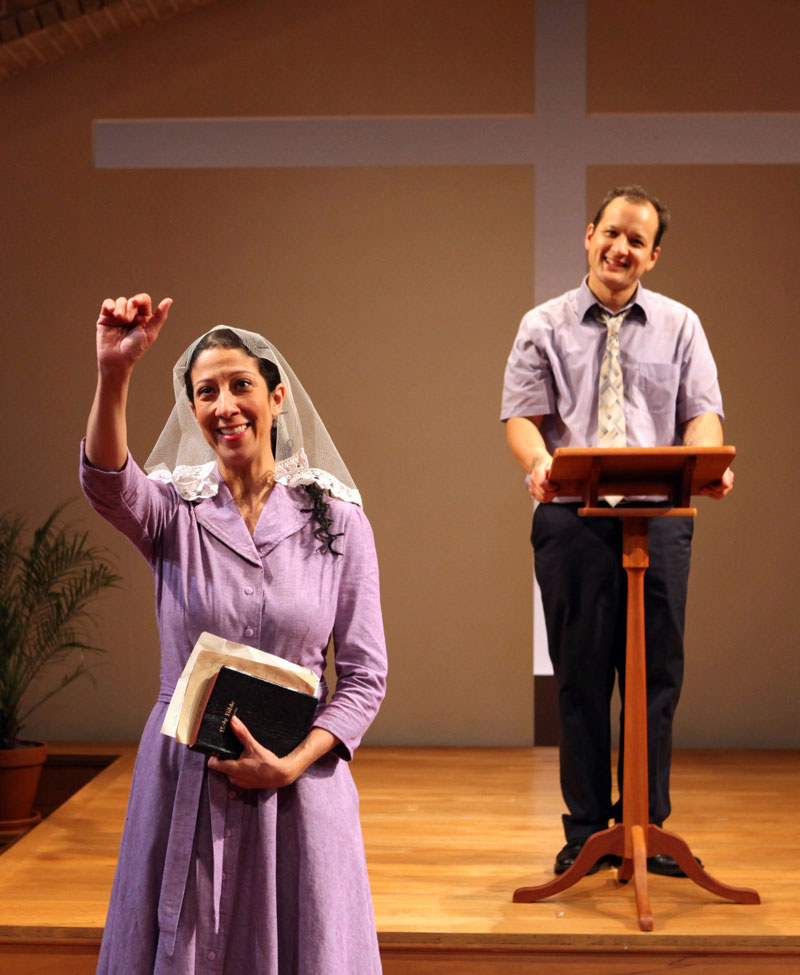 Elias's (Sean San Jose) wife Esther (Sarah Nina Hayon) introduces herself to the church. (Photo: Jennifer Reiley)