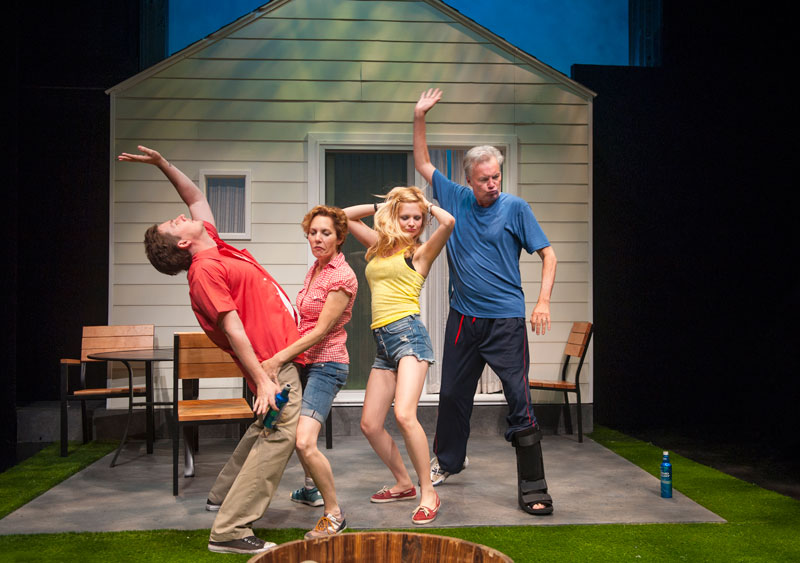 Kenny, Mary, Sharon and Ben (l-r, Patrick Kelly Jones, Amy Resnick, Luisa Frasconi, Jeff Garrett) have a wild backyard barbecue in Aurora's Bay Area premiere of Detroit. (Photo: David Allen)