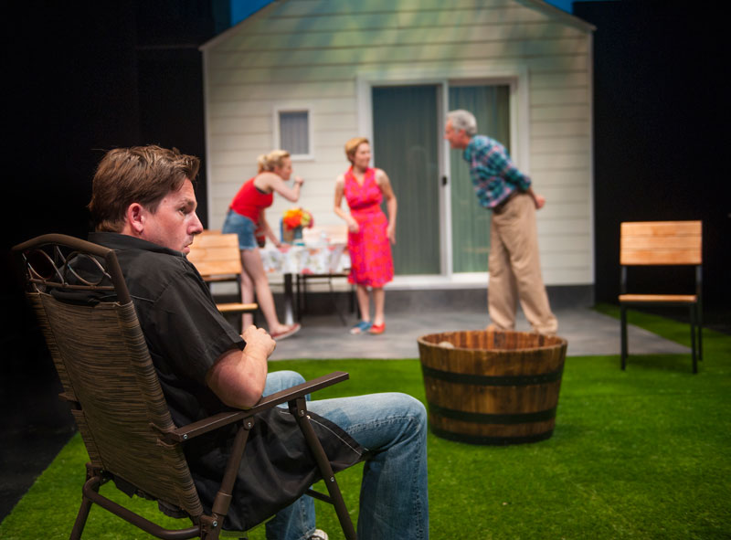 Suburbanites Mary (Amy Resnick) and Ben (Jeff Garrett) host a lawn party for new neighbors Kenny (Patrick Kelly Jones) and Sharon (Luisa Frasconi)  in Aurora's Bay Area premiere of Detroit. (Photo: David Allen)