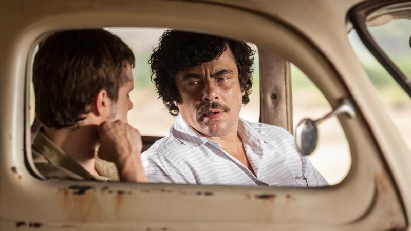 Josh Hutcherson and Benecio Del Toro in Escobar: Paradise Lost. (Courtesy of Radius)