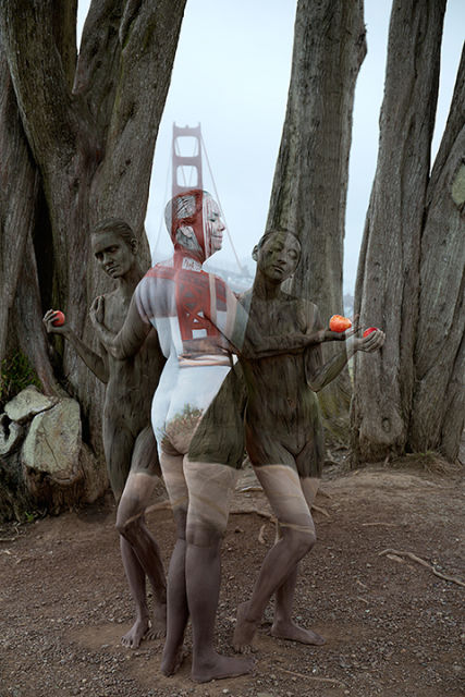 Trina Merry, 'Golden Gate Bridge, San Francisco (after Raphael, 'Three Graces'), 2015. (Bodypaint and photography: Trina Merry)
