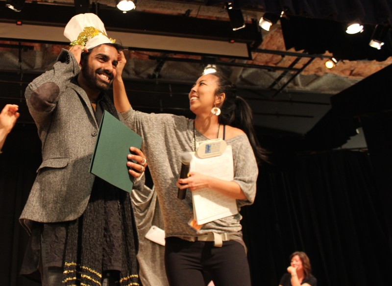 Saqib Keval, being honored with a Dumpling Award.