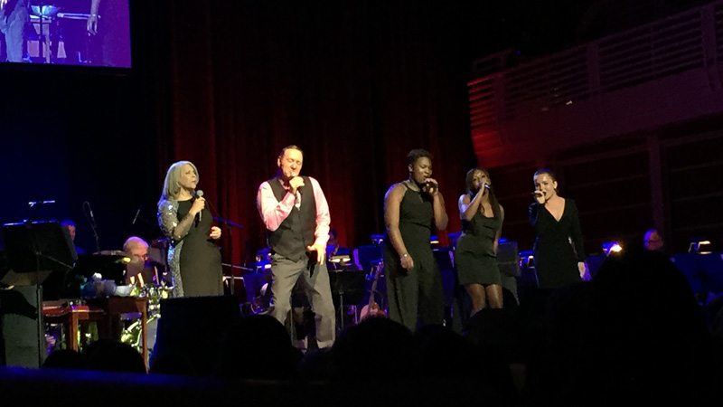 Kevin Spacey sings with Patti Austin and backup vocalists at the Green Music Center, July 18, 2015. (Photo: Gabe Meline/KQED)