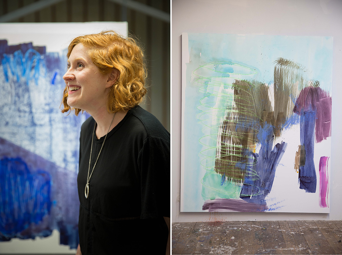 Left: The artist in her studio; Right: 'Wind Up,' 2015. (Photos: Jeremy Raff/KQED)