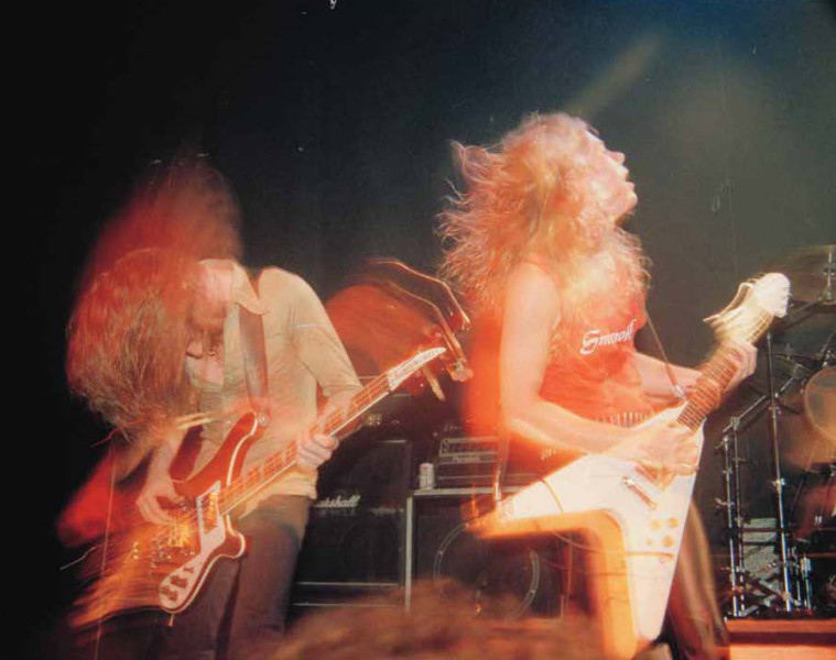 Cliff Burton and James Hetfield of Metallica, live in Palo Alto in 1983. (Photo by Brian Lew)