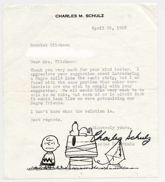 Schulz writes Glickman a letter showing concern for introducing an African American character.