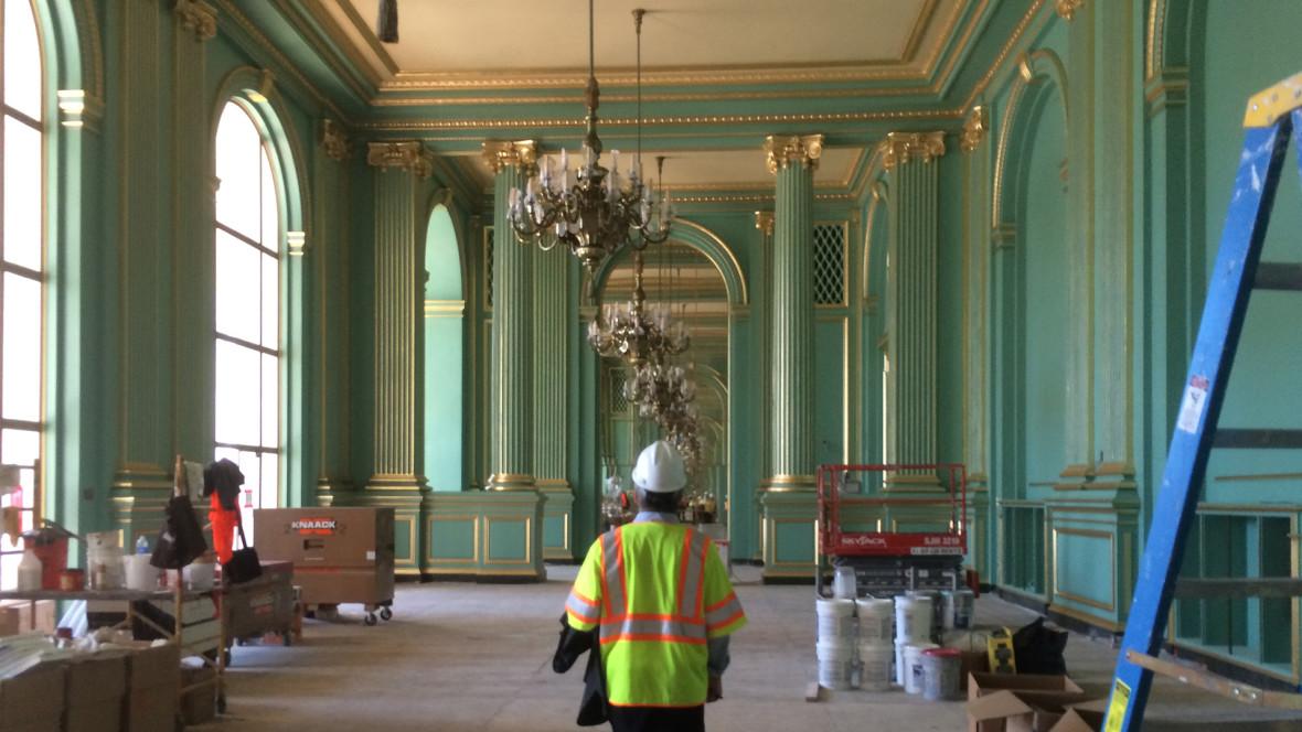 Inside the War Memorial Veterans Building as it undergoes renovations. (Photo: Chloe Veltman/KQED)