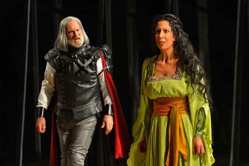 Julian López-Morillas as Clotaldo and Sarah Nina Hayon as Rosaura in California Shakespeare Theater's Life Is a Dream. (Photo: Kevin Berne)