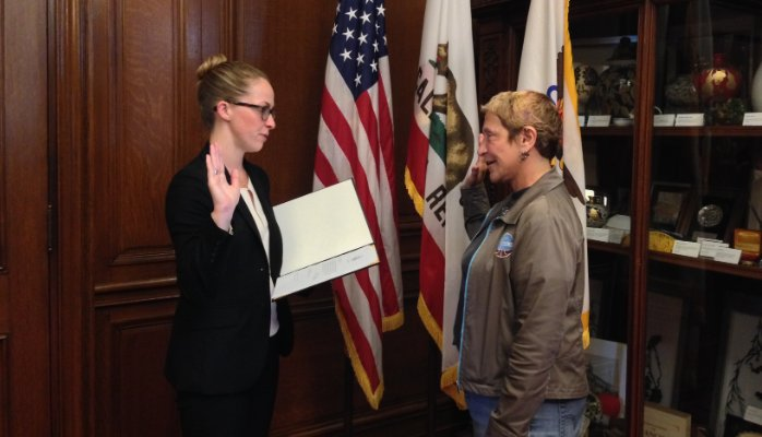 Joseph being sworn in once again to the San Francisco Entertainment Commission in 2015
