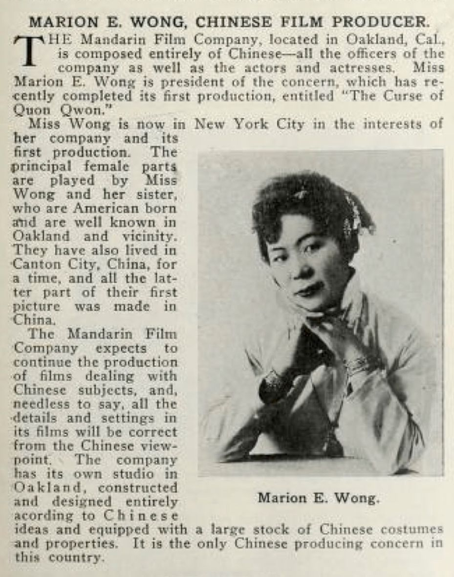 "A news clipping about Marion Wong, who wrote, directed, and starred in the early silent film ""The Curse of Quon Gwon"""