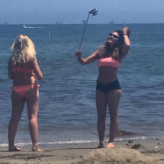 A selfie stick in use in Santa Barbara, CA. (Photo: Shea Sweeney)
