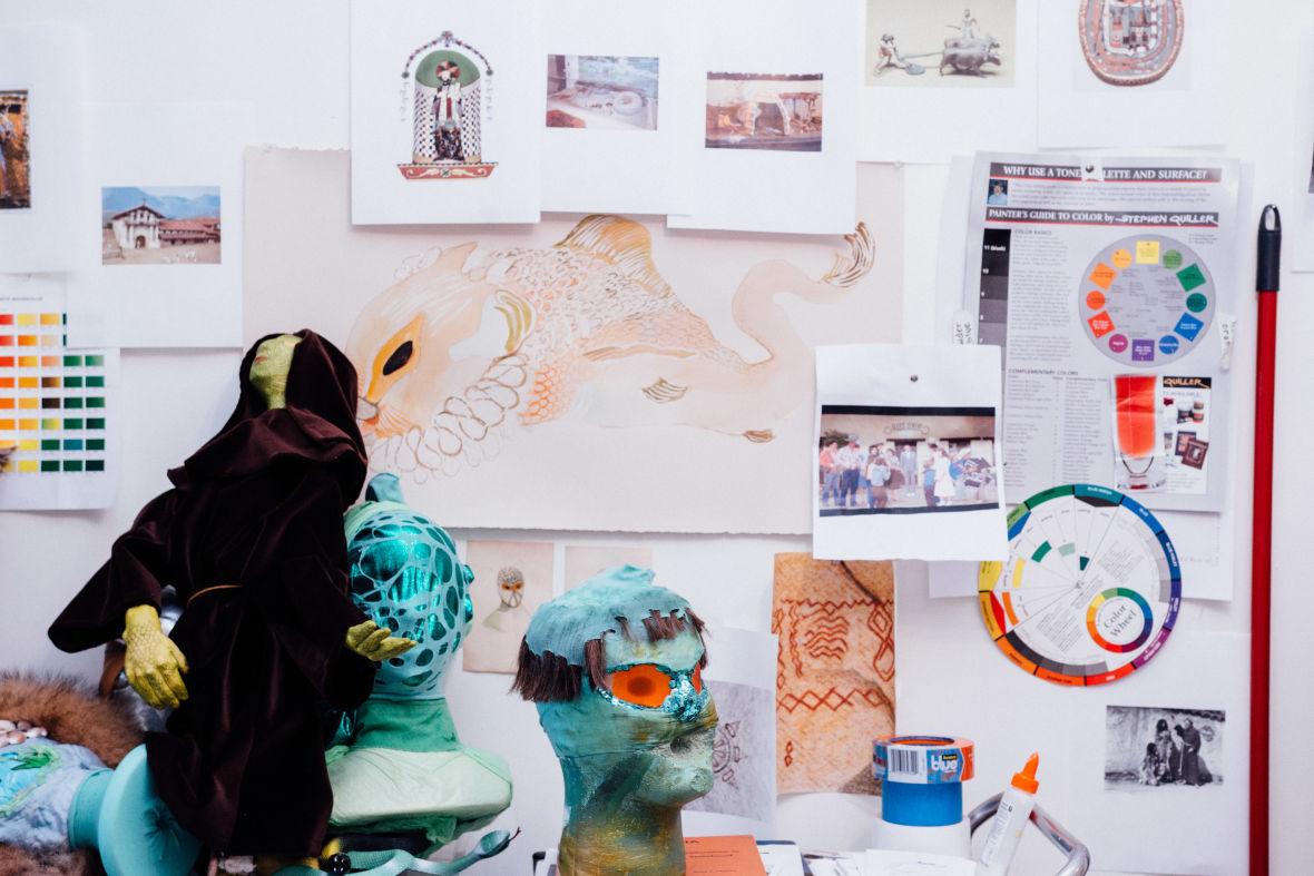 Katie Dorame's studio wall. (Photo: Jeremy Raff/KQED)