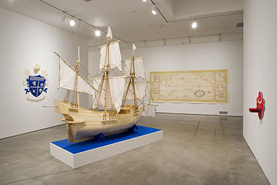 Michael Arcega, Installation view of 'El Conquistadork,' 2004. (Photo: the artist)