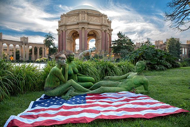 Trina Merry, 'Palace of Fine Arts, San Francisco (after Manet 'Le Déjeuner sur l'herbe'), 2015. (Bodypaint and photo: Trina Merry)