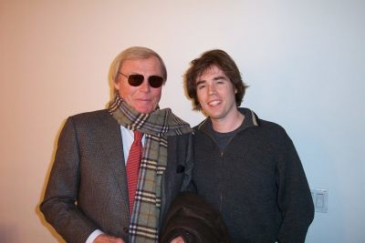 Wurster (R) hanging with actor Adam West during Wurster's MTV writing days