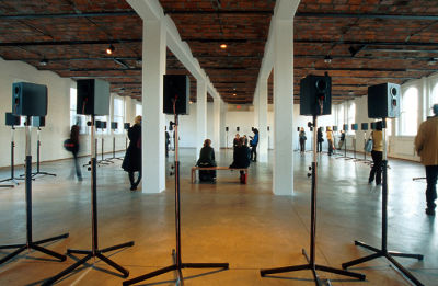 Janet Cardiff, 'The Forty Part Motet' installed at MoMA PS1 (detail), 2001. (Photo: Courtesy Janet Cardiff and MoMA PS1)