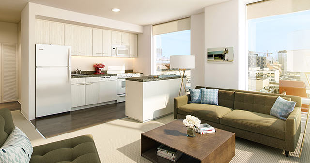 """Each home comes with its own washer and dryer, kitchen appliances, ample closet space, and granite countertops."" Digital rendering of unit inside 1400 Mission. (Photo: 1400missionsf.com)"