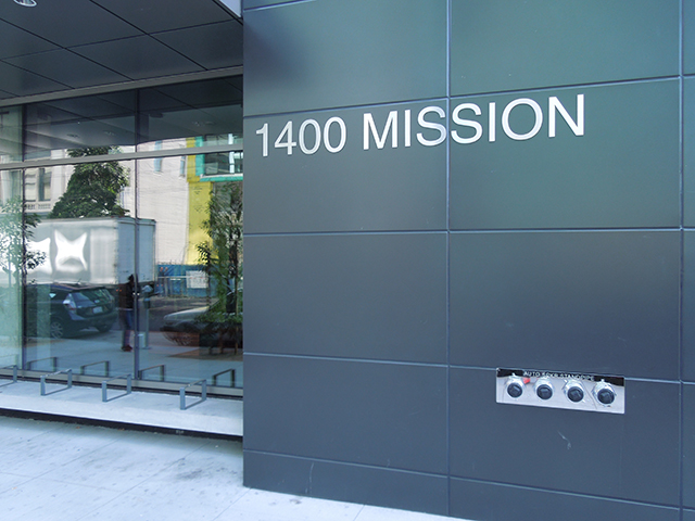 The entrance of 1400 Mission. (Photo: Sarah Hotchkiss/KQED)