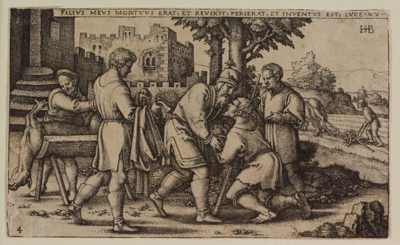 An etching by Hans Beham Depicting the return of the prodigal son