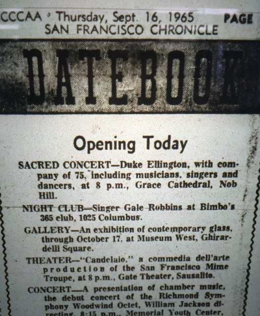 A notice in the Chronicle for Ellington's Grace Cathedral concert. (Photo: San Francisco Library archives)
