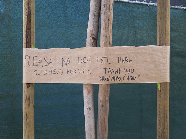 Remnants of an ongoing battle with local dog owners. (Photo: Sarah Hotchkiss/KQED)
