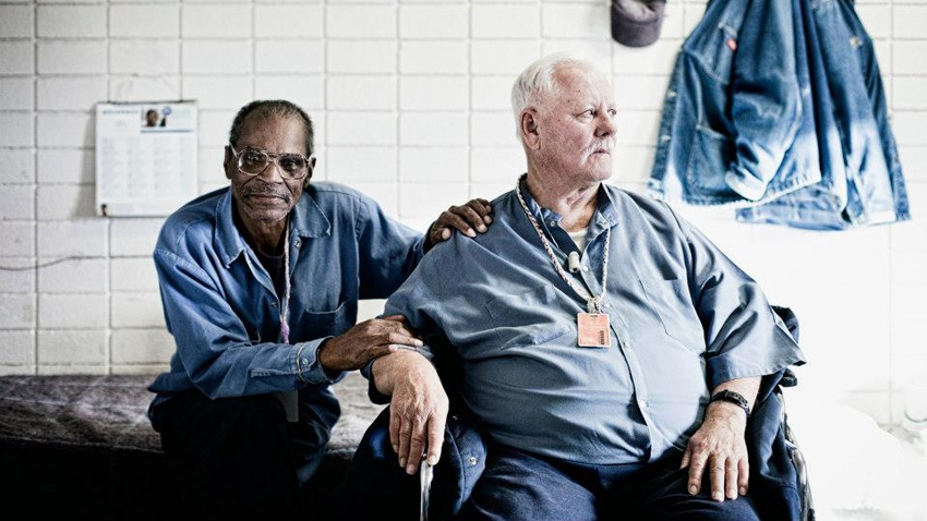 Cecil Williams (murder) and Clark Morse (vehicular manslaughter) shown here in 2012 at the Northern Nevada Correctional Compound. They became best friends after meeting in prison. (Photo: Ron Levine/'Prisoners of Age')