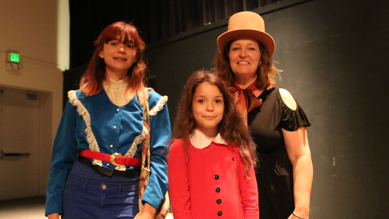 The Martins, L to R: Sophia, Ella and Tawnya, who dressed up for the Primus & the Chocolate Factory show