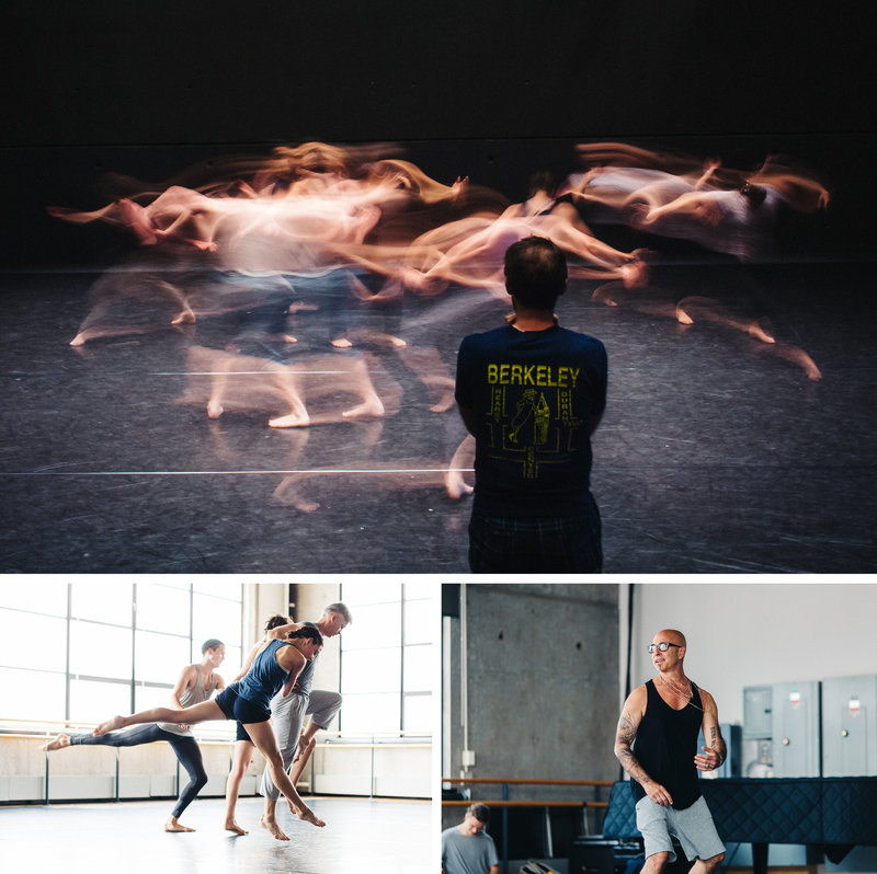 Top: Choreographer John Heginbotham watches his dancers rehearse at the Baryshnikov Arts Center. Bottom left: Dancers in the Stephen Petronio Company rehearse (from front to back: Jaqlin Medlock, Gino Grenek, Emily Stone and Joshua Tuason). Bottom right: Choreographer Stephen Petronio demonstratesan idea to his dancers