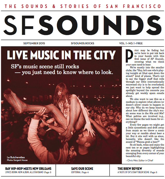 The debut issue of SF Sounds, a paper underwritten by club owner Jason Perkins.