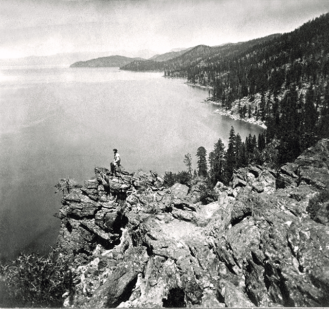Charles Leander Weed, 'View from the Top of Cave Rock – Eastern Shore of Lake Tahoe, Looking North, from the Lawrence & Houseworth Albums,' circa 1862–64. Collection of The Society of California Pioneers.