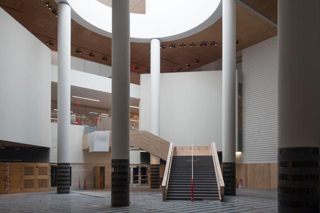 The Botta atrium of SFMOMA, under construction.